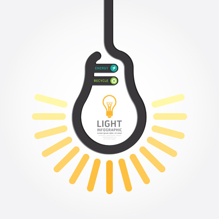 infographic Template with Light bulbs line banner . concept vector illustration  Vector