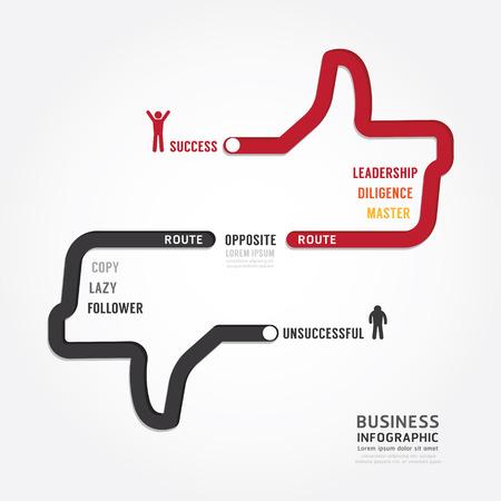 インフォ グラフィック商務。成功のコンセプト デザイン テンプレートにルーティングします。概念ベクトル イラスト