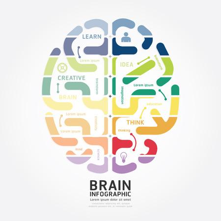 kavram ve fikirleri: Infographics vektör beyin diyagram çizgi stili şablon
