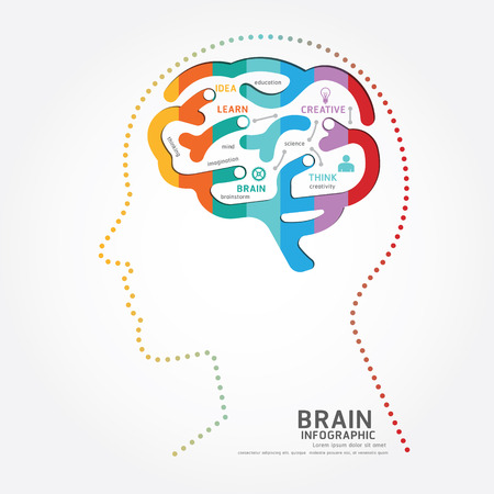 success concept: infographics vector brain design diagram point style template