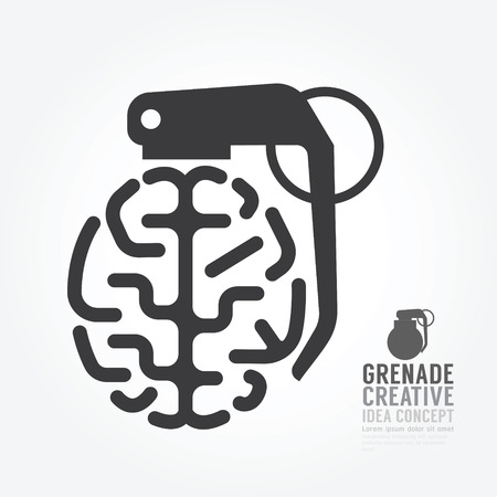 Vector brain distortion from grenade concept engine of idea.design for infographics style template. Illustration