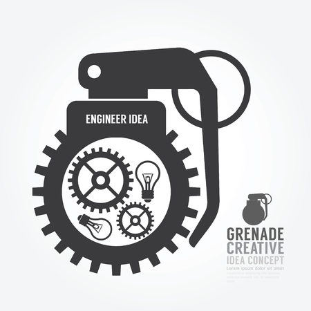 grenade: Vector gear distortion from grenade concept engine of idea.design for infographics style template.
