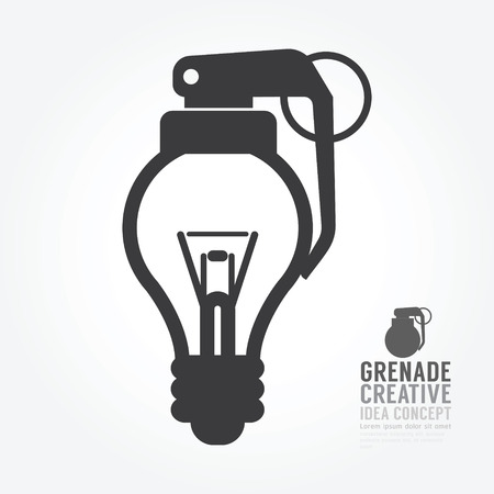 grenade: Vector light bulb distortion from grenade concept of idea.design for infographics style template. Illustration