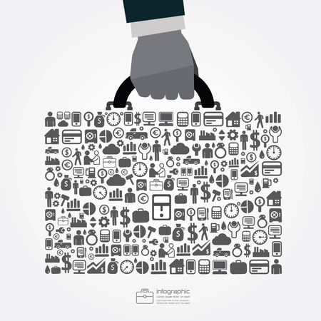 infographic Template with businessman hand hold business bag icons banner . concept vector illustration Vector
