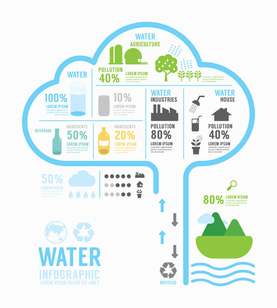 man drinking water: Infographic water eco annual report template design . concept vector illustration Illustration