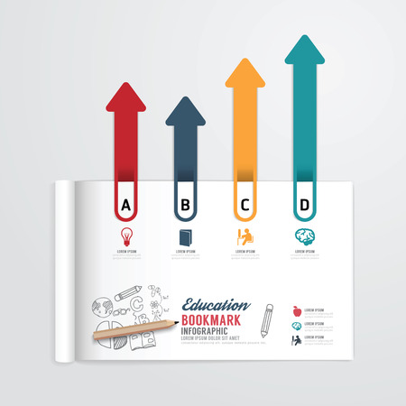 infographic book open with bookmark arrow concept education template. can be use for your design. Vector illustration. Vector
