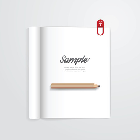book open with pencil vector magazine template. can be use for your design. Vector illustration. Vector