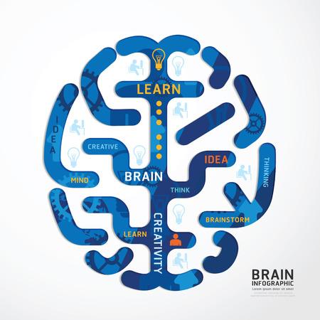 infographics vector brain colour design diagram line style template