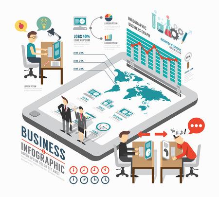 企業信息圖表模板設計。等距概念向量插圖