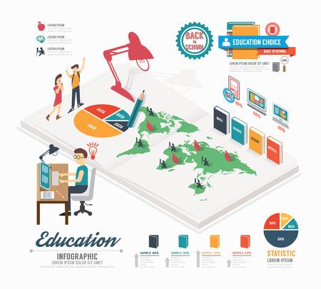 インフォ グラフィック教育デザイン テンプレート等尺性概念ベクトル イラスト  イラスト・ベクター素材