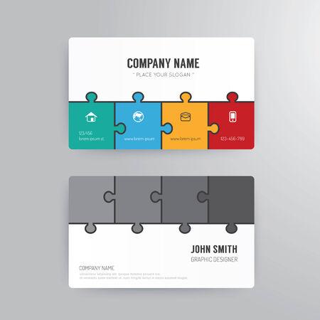Business card template modern abstract jigsaw concept design. Vector