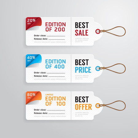 Sale banners price tag paper card template collection.vector Vector