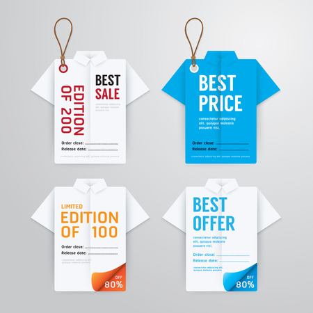 Sale banners price tag paper card template shirt origami collection.vector Vector