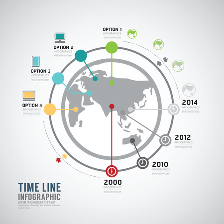 decade: Timeline Infographic world vector design template.