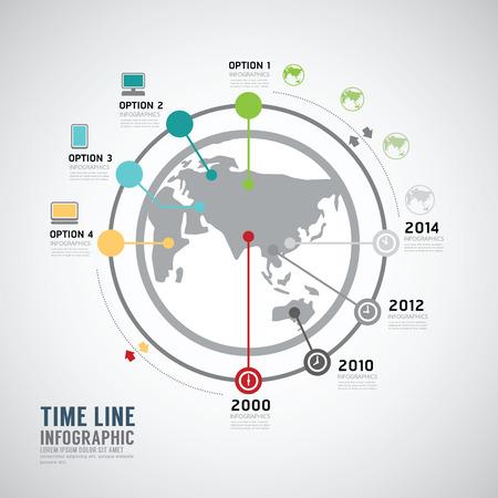Timeline Infographic world vector design template. Vector