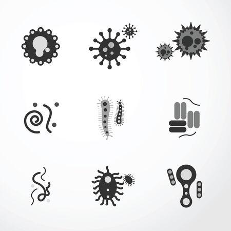 vector virus  icons black colour.