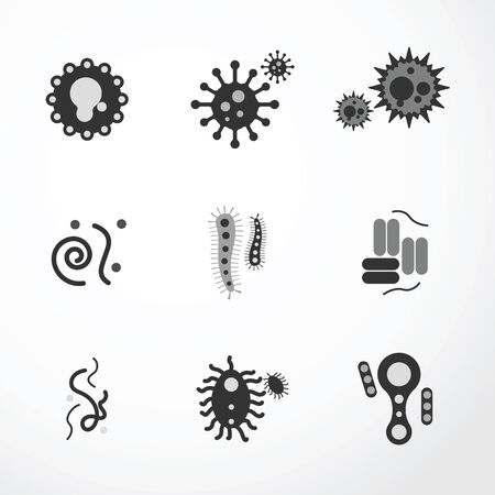 infection: vector virus  icons black colour.