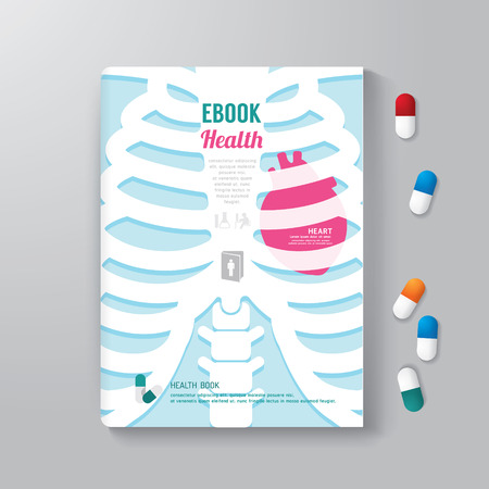 Cover Book Design Minimal Style Template health concept can be used for E-Book Cover E-Magazine Cover vector illustration Illustration