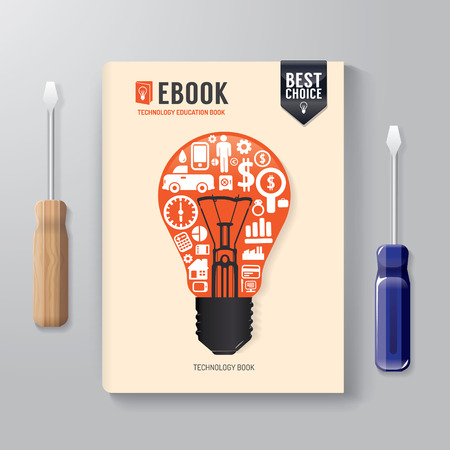 Cover Book Digital Design Template Technology Concept can be used for E-Book Cover E-Magazine Cover vector illustration Vector