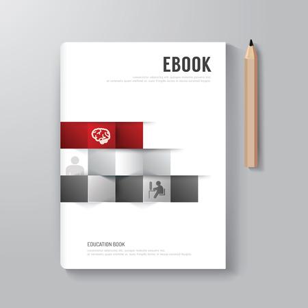 fedő: Cover Book Digital Design minimál stílusban Template  használható E-Book Cover  E-Magazine Cover  vektoros illusztráció Illusztráció