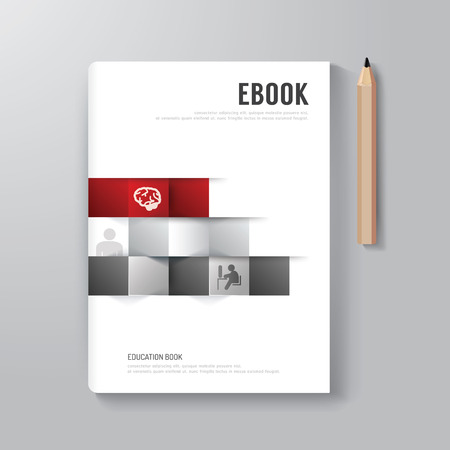 Cover Book Digital Design Minimal Style Template / can be used for E-Book Cover/ E-Magazine Cover/ vector illustration Çizim