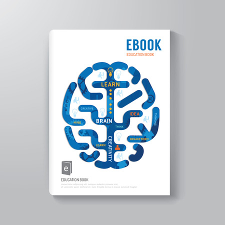 wiki: Cover Book Digital Design Brain Concept Template  can be used for E-Book Cover E-Magazine Cover vector illustration