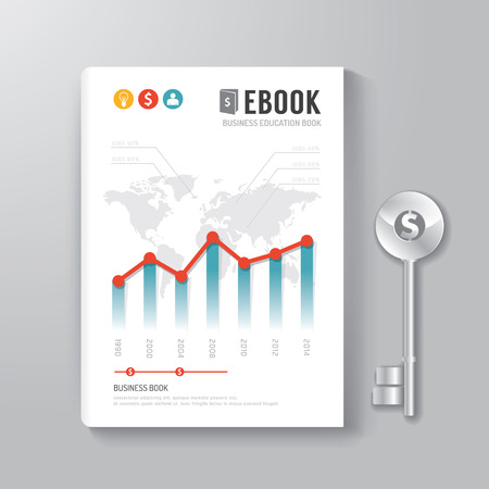 books isolated: Cover Book Digital Design Template Key of Business Concept can be used for E-Book Cover E-Magazine Cover vector illustration