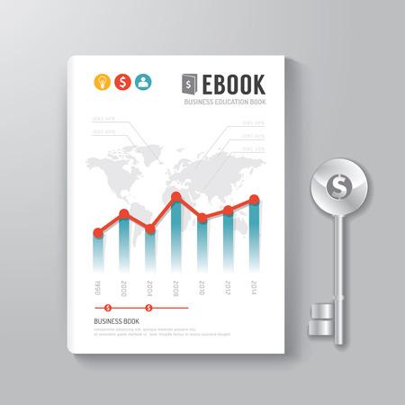 portadas: Dise�o de la portada del libro digital Clave Plantilla del concepto de negocio  se puede utilizar para E-Book Cover  E-Magazine Portada  ilustraci�n vectorial
