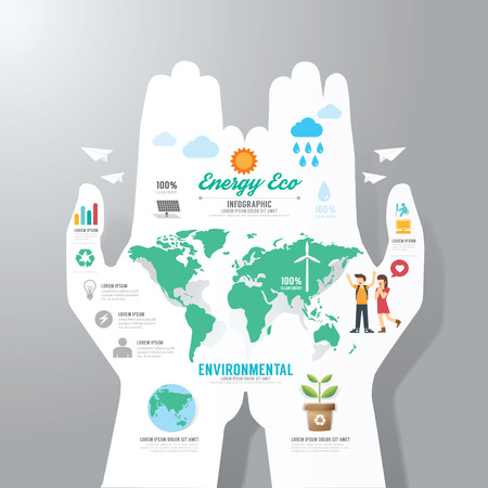 environmental: infographic Template with hand paper banner . eco concept vector illustration Illustration
