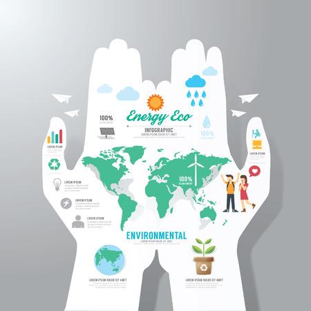 educacion ambiental: Plantilla infografía con bandera de papel a mano. eco concepto de ilustración vectorial