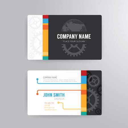 graphics card: Business card template moderno concetto di disegno astratto. Vettoriali