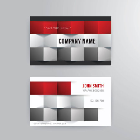 user name: Business card template modern abstract concept design.red paper