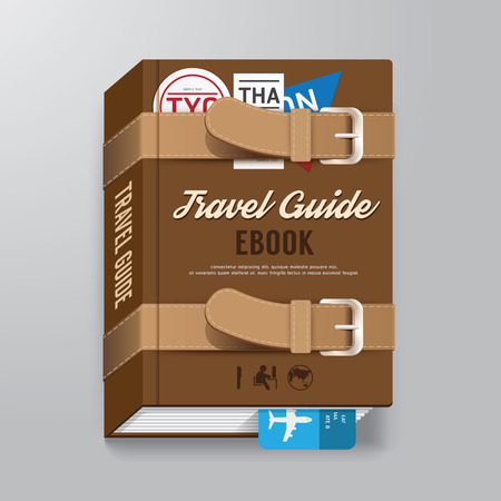 Cover Book Travel Guide Design luggage Concept Template  can be used for E-Book Cover E-Magazine Cover vector illustration Vector