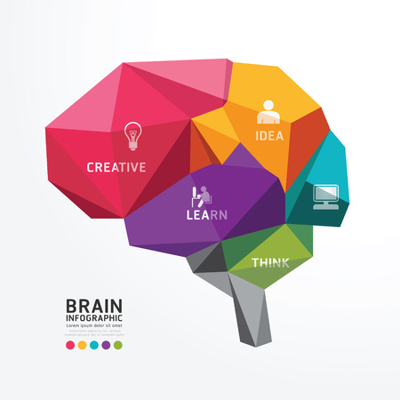 Vector Brain Ontwerp Conceptuele Polygon stijl, Abstract, Vector Illustratie Stock Illustratie