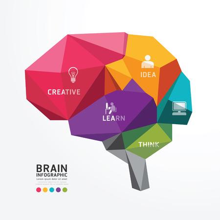 conocimiento: Vector Cerebro Diseño Estilo Polígono conceptual, ilustración vectorial abstracto