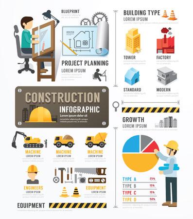 建設: 建設テンプレート設計インフォ グラフィック。概念ベクトル イラスト