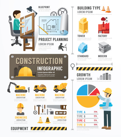 constructeur maison: Mod�le de construction Conception Infographie. notion illustration vectorielle