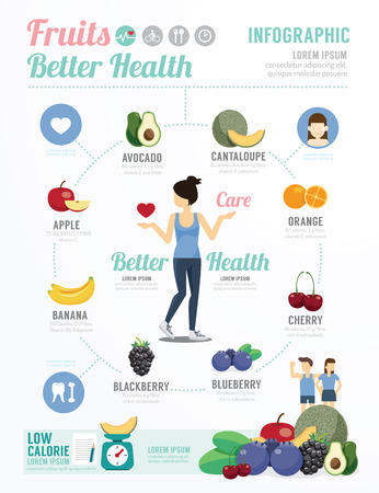 Health and Wellness Template Design Fruit for Healthy Infographic . concept vector illustration Vector