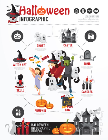 Halloween Party Template Design Infographic . concept vector illustration Vector