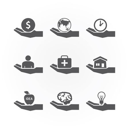 hand icons saving concept design vector. Vector
