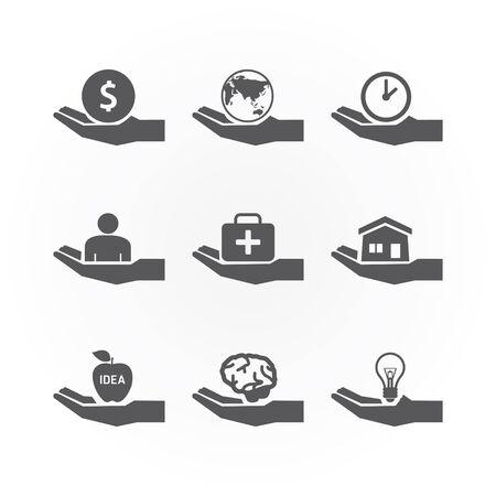 clock icon: hand icons saving concept design vector. Illustration