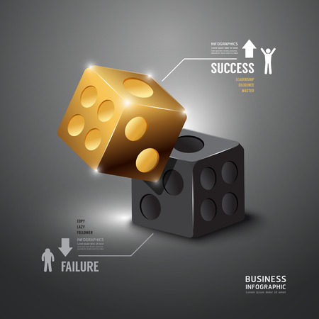dice: Infographic Gold Dice Template.Business Concept Vector Illustration.