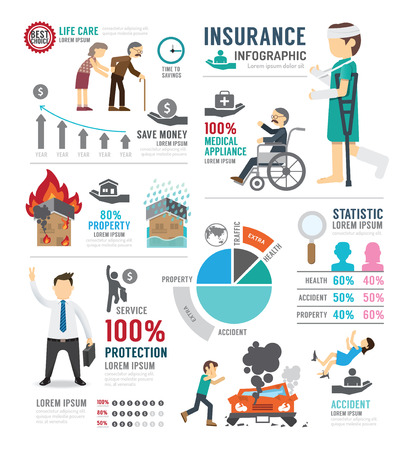 Insurance Template Design Infographic . Concept Vector Illustration  イラスト・ベクター素材