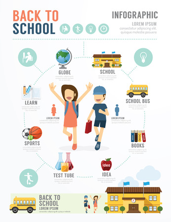 studying: Education School Template Design Infographic . concept vector illustration Illustration