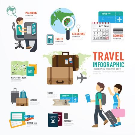 여행: 세계 여행 비즈니스 템플릿 디자인 인포 그래픽. 개념 벡터 일러스트 레이 션
