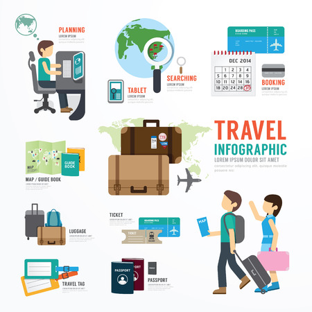 travel luggage: World Travel Business Template Design Infographic . Concept Vector illustration