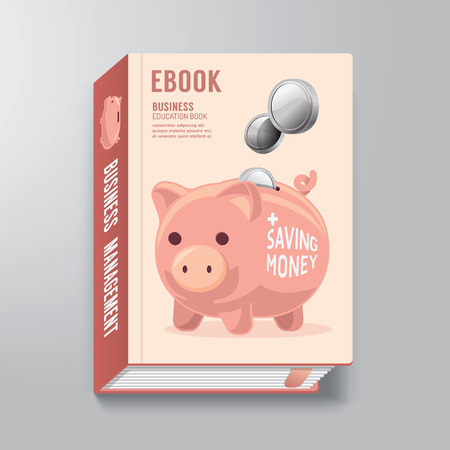 Book Cover Design Template Business Piggy Bank Concept  can be used for E-Book Cover E-Magazine Cover vector illustration Vector