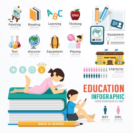 Diseño Plantilla Educación Infografía. Ilustración del concepto vectorial