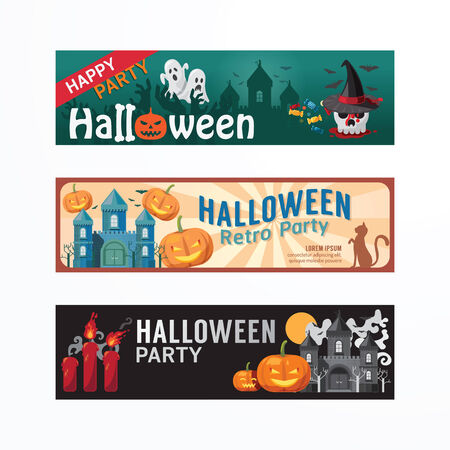 Halloween Day Party Banner Template Design. Vector