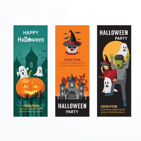 treats: Halloween Party Day banner template design. Vettoriali